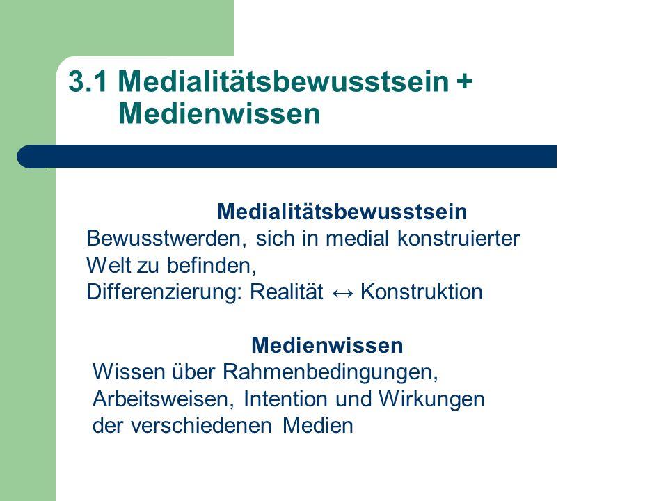3.1 Medialitätsbewusstsein + Medienwissen