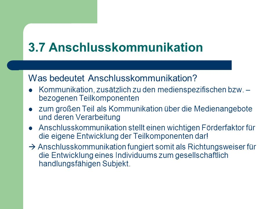 3.7 Anschlusskommunikation