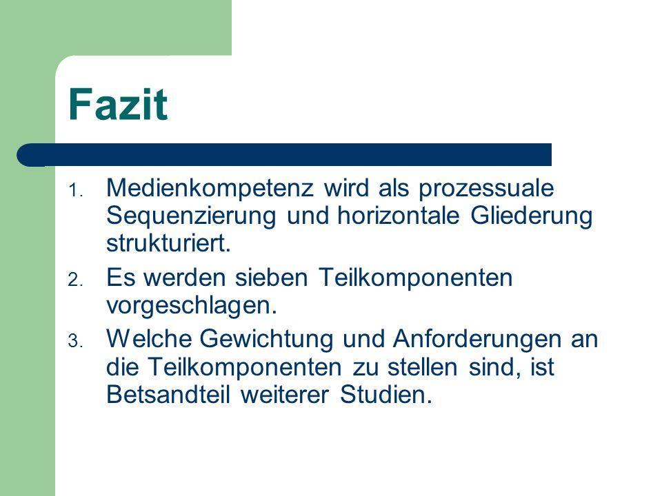 FazitMedienkompetenz wird als prozessuale Sequenzierung und horizontale Gliederung strukturiert. Es werden sieben Teilkomponenten vorgeschlagen.