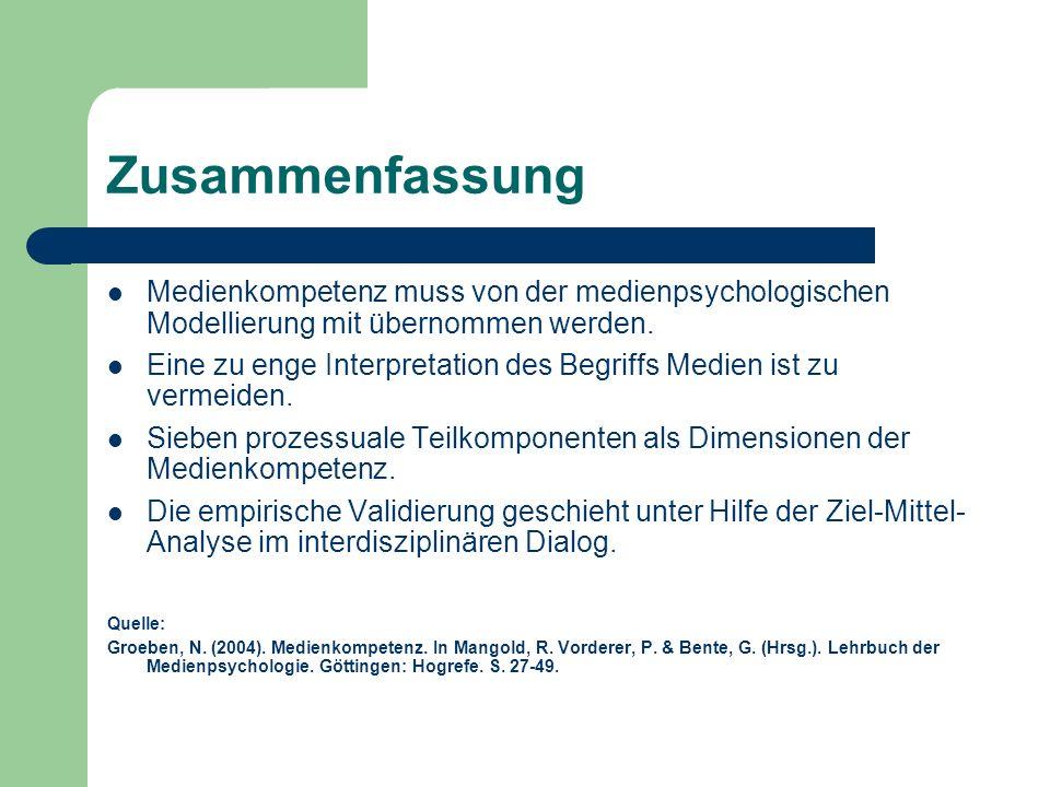 ZusammenfassungMedienkompetenz muss von der medienpsychologischen Modellierung mit übernommen werden.