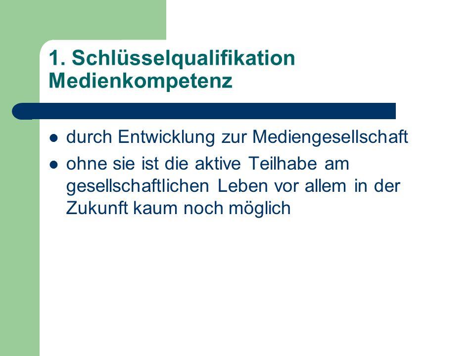 1. Schlüsselqualifikation Medienkompetenz