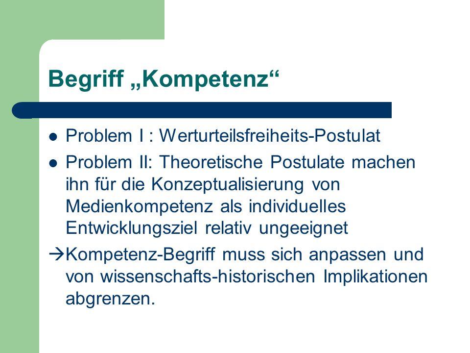 """Begriff """"Kompetenz Problem I : Werturteilsfreiheits-Postulat"""