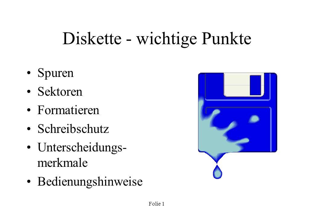 Diskette - wichtige Punkte