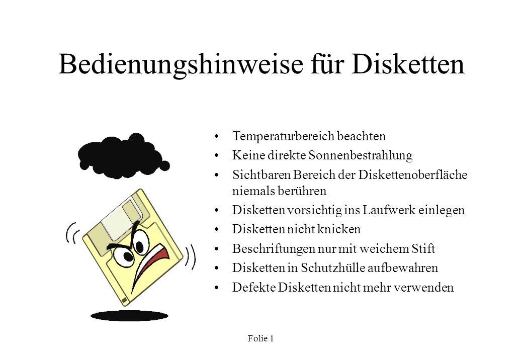 Bedienungshinweise für Disketten