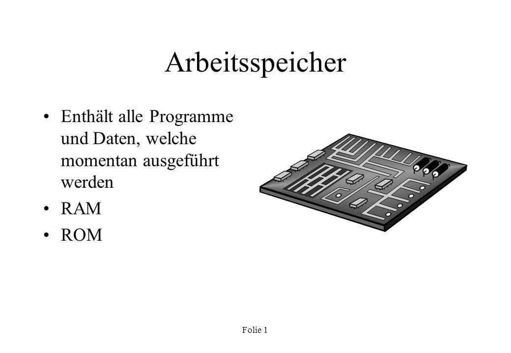 Arbeitsspeicher Enthält alle Programme und Daten, welche momentan ausgeführt werden RAM ROM Folie 1