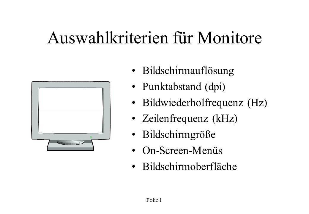 Auswahlkriterien für Monitore