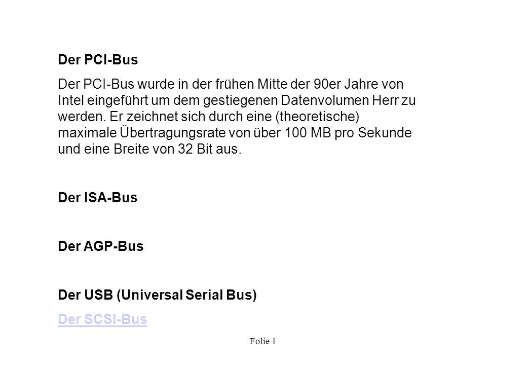 Der USB (Universal Serial Bus) Der SCSI-Bus