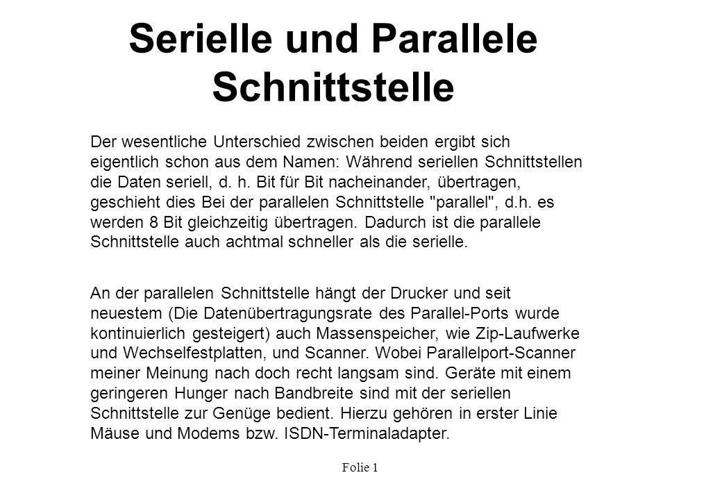 Serielle und Parallele Schnittstelle