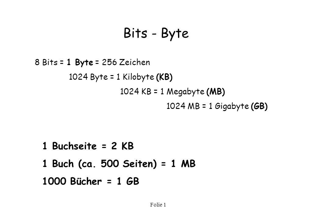 Bits - Byte 1 Buchseite = 2 KB 1 Buch (ca. 500 Seiten) = 1 MB