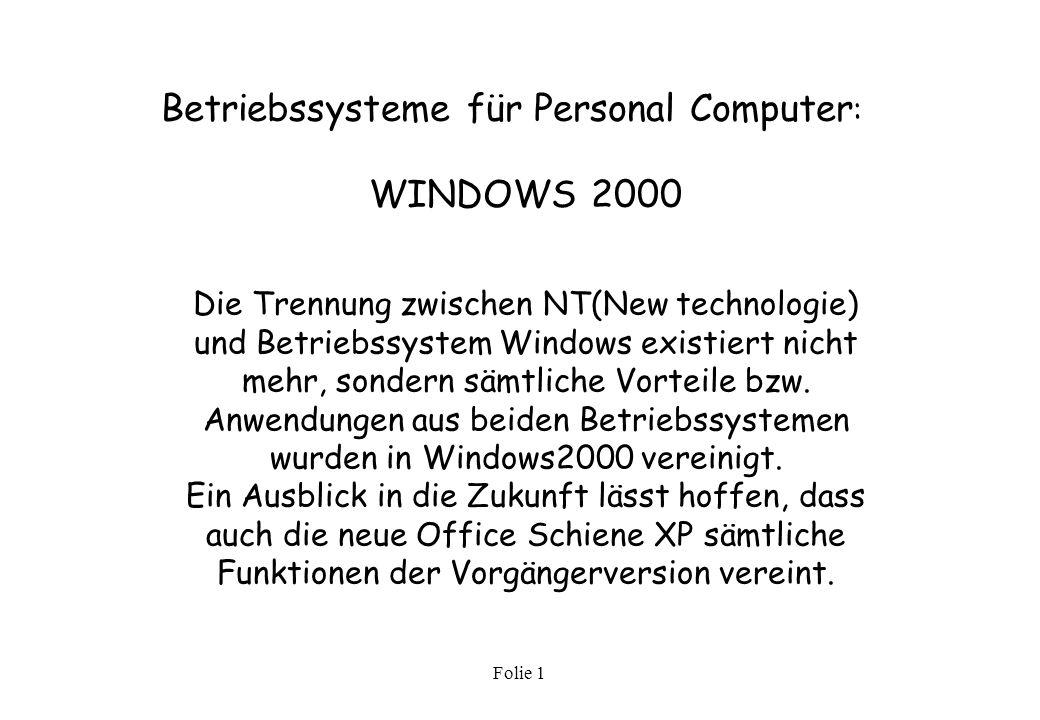 Betriebssysteme für Personal Computer: