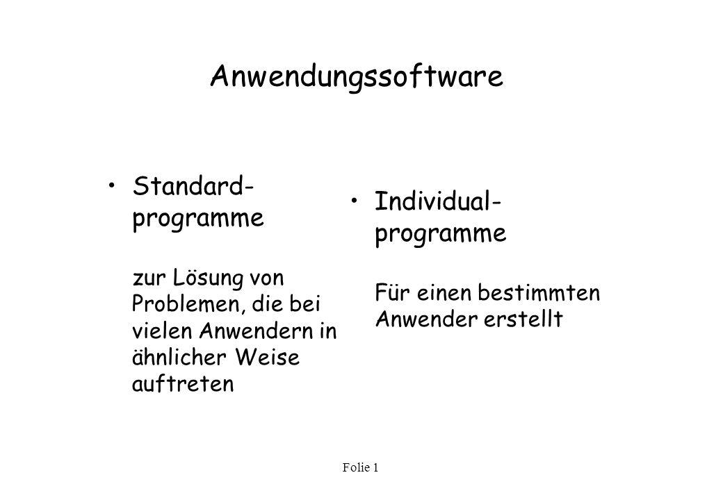 Anwendungssoftware Standard-programme zur Lösung von Problemen, die bei vielen Anwendern in ähnlicher Weise auftreten.