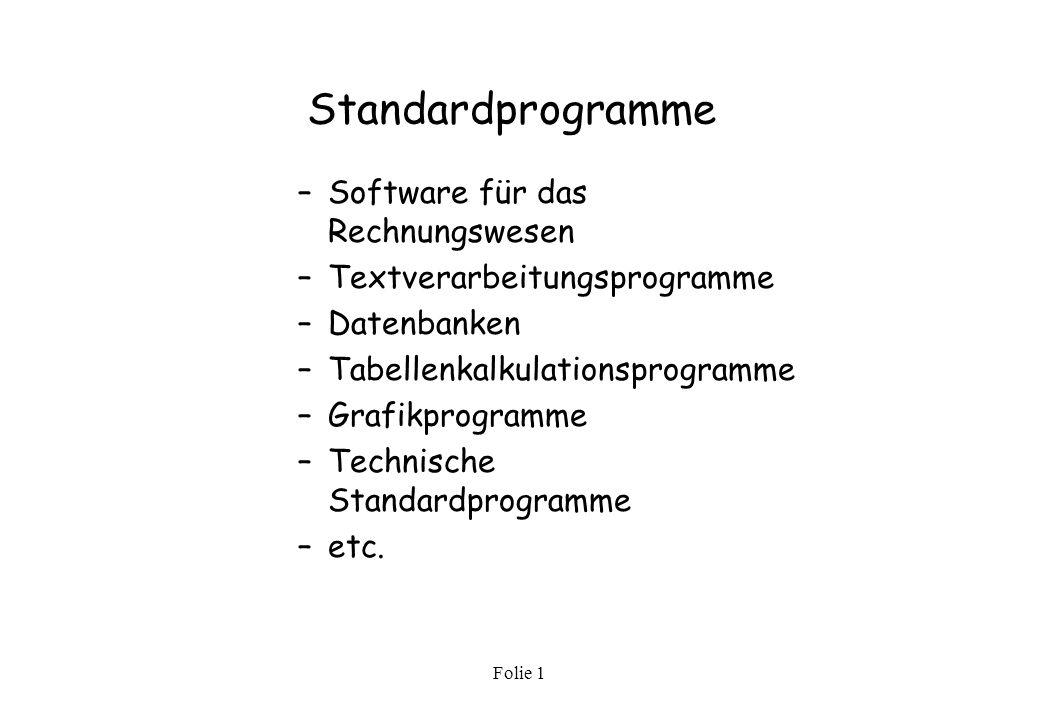 Standardprogramme Software für das Rechnungswesen