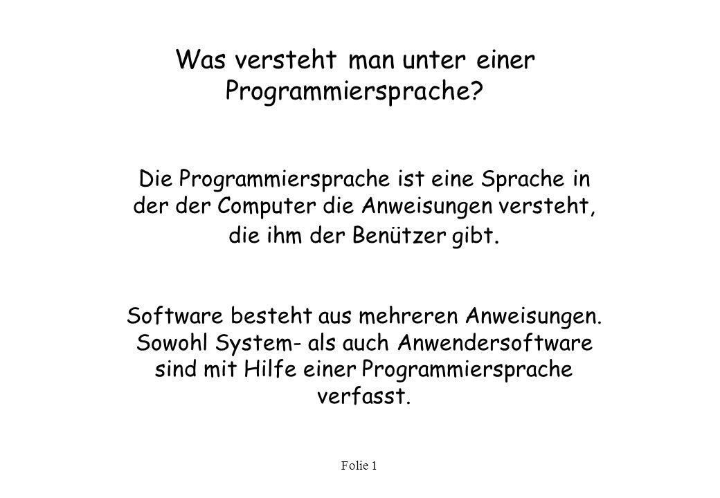 Was versteht man unter einer Programmiersprache