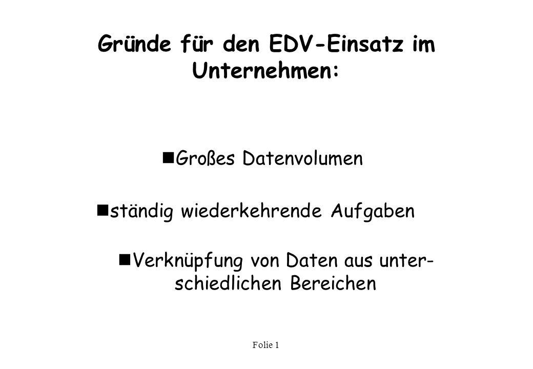 Gründe für den EDV-Einsatz im Unternehmen: