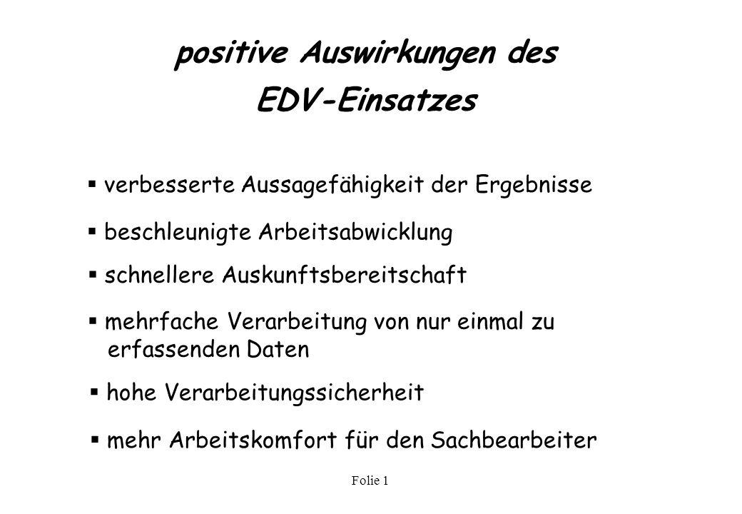 positive Auswirkungen des EDV-Einsatzes