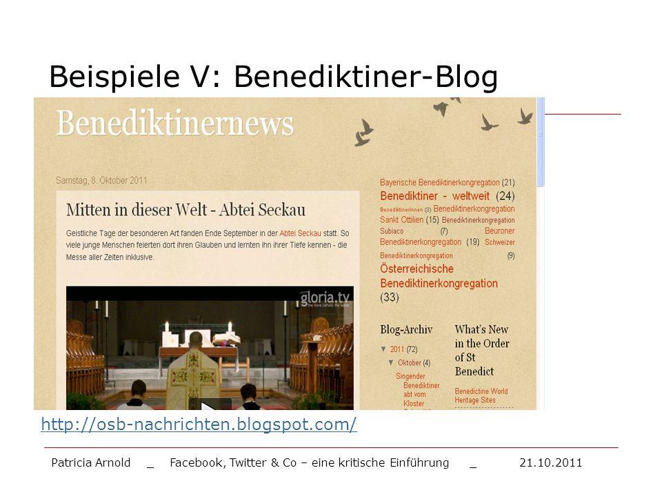 Beispiele V: Benediktiner-Blog