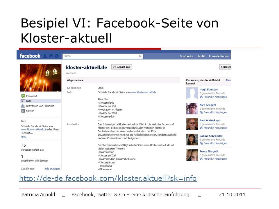 Besipiel VI: Facebook-Seite von Kloster-aktuell