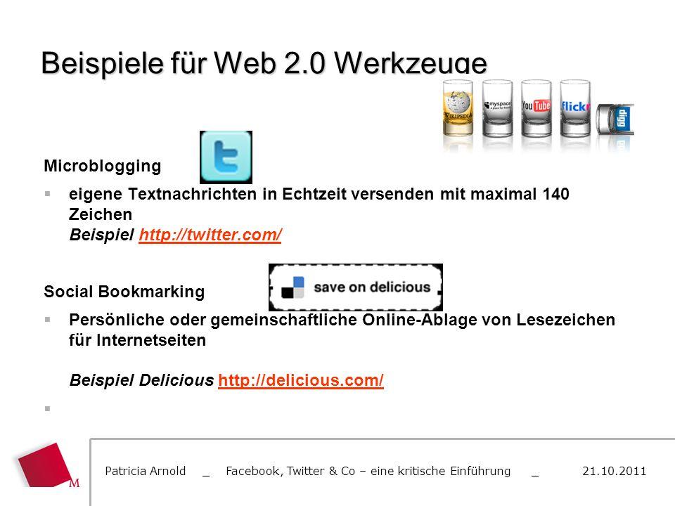 Beispiele für Web 2.0 Werkzeuge