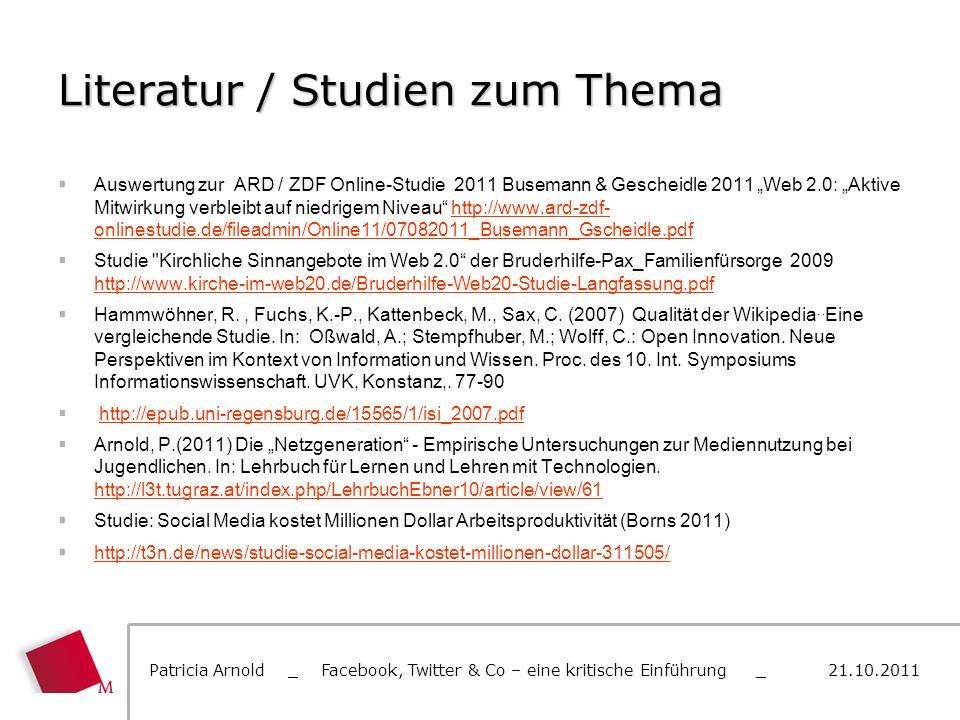 Literatur / Studien zum Thema