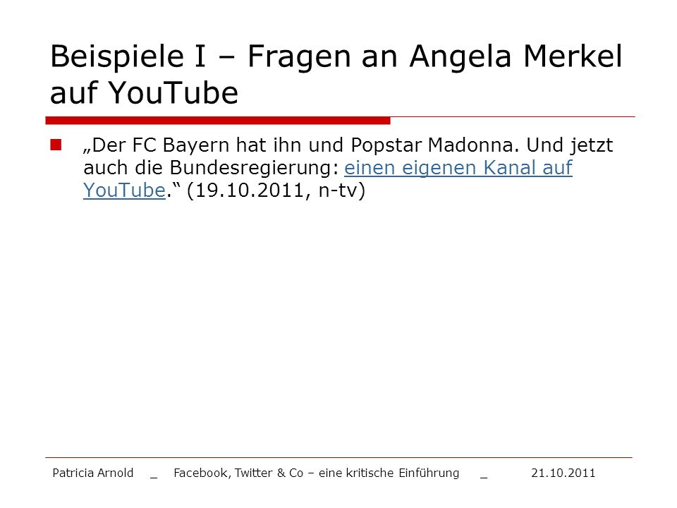 Beispiele I – Fragen an Angela Merkel auf YouTube