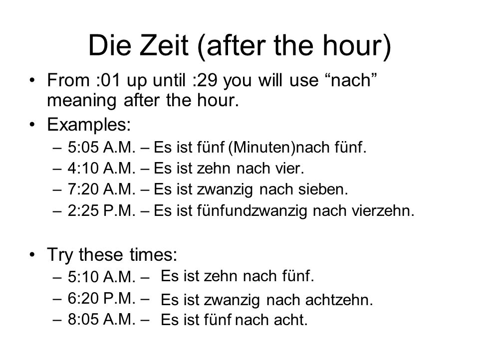 Die Zeit (after the hour)