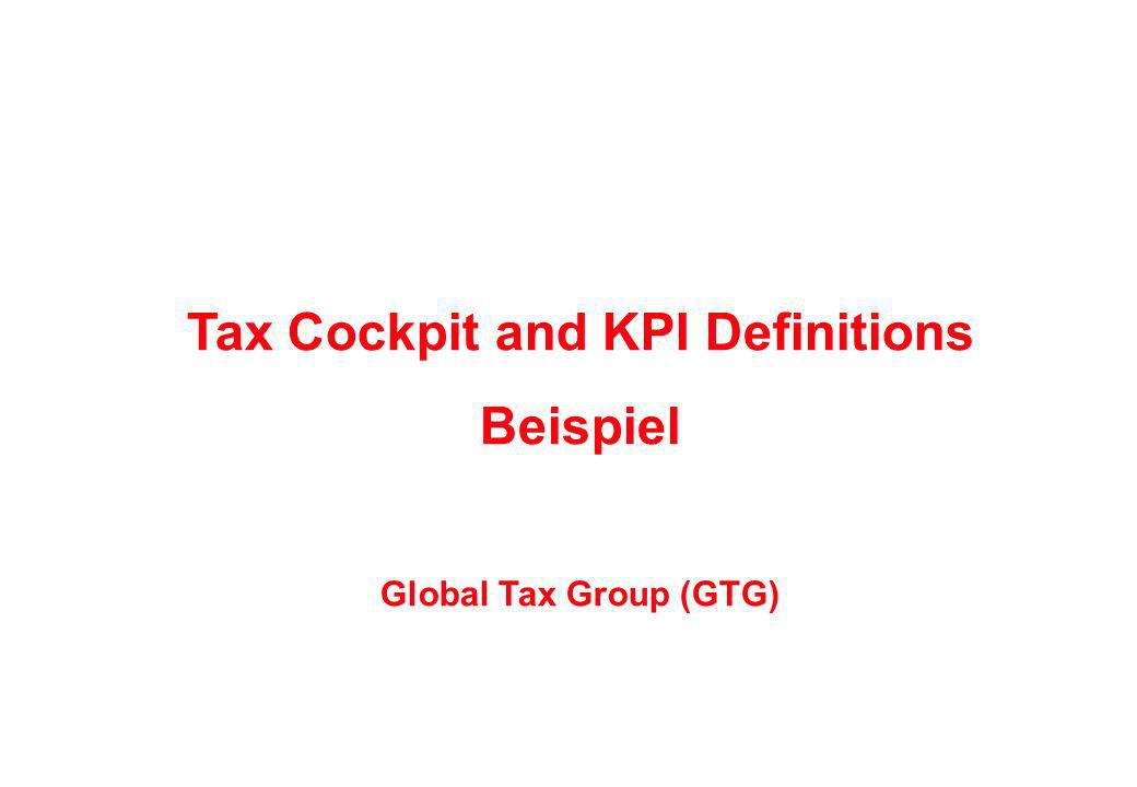 Tax Cockpit and KPI Definitions