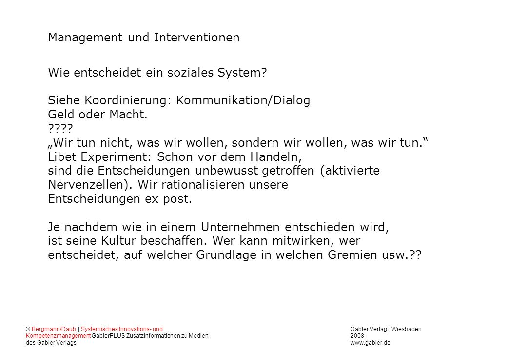 Management und Interventionen