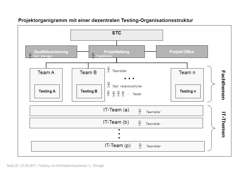Projektorganigramm mit einer dezentralen Testing-Organisationsstruktur