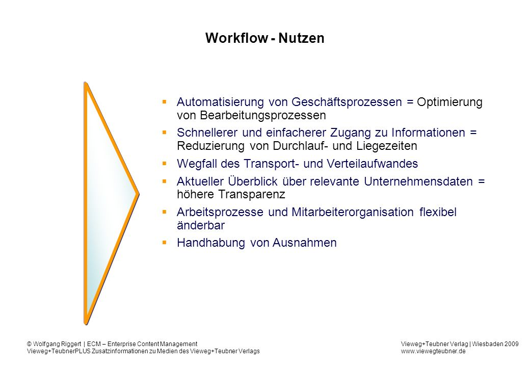 Workflow - Nutzen Automatisierung von Geschäftsprozessen = Optimierung von Bearbeitungsprozessen.