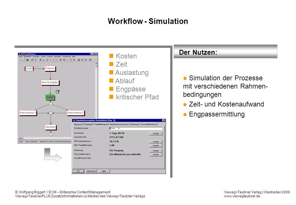 Workflow - Simulation Der Nutzen: Kosten Zeit Auslastung Ablauf