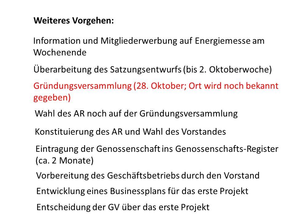 Weiteres Vorgehen: Information und Mitgliederwerbung auf Energiemesse am Wochenende. Überarbeitung des Satzungsentwurfs (bis 2. Oktoberwoche)