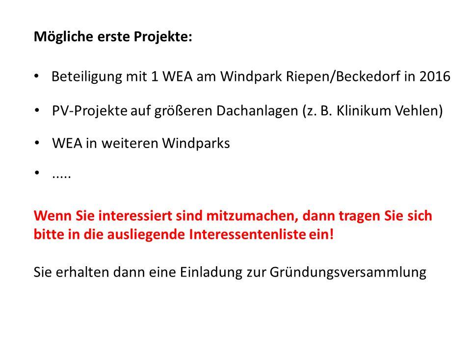 Mögliche erste Projekte: