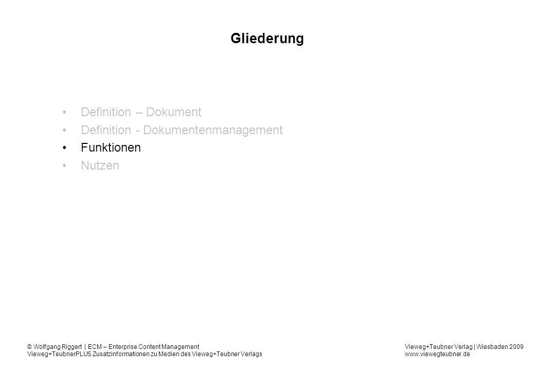 Gliederung Definition – Dokument Definition - Dokumentenmanagement