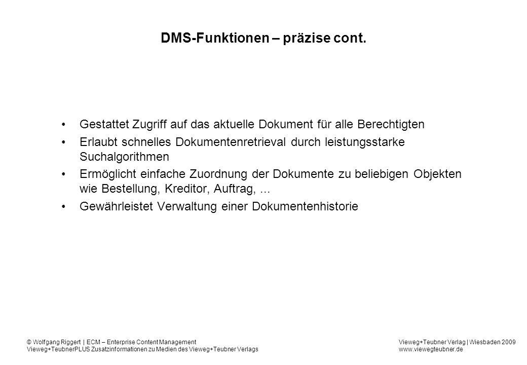 DMS-Funktionen – präzise cont.