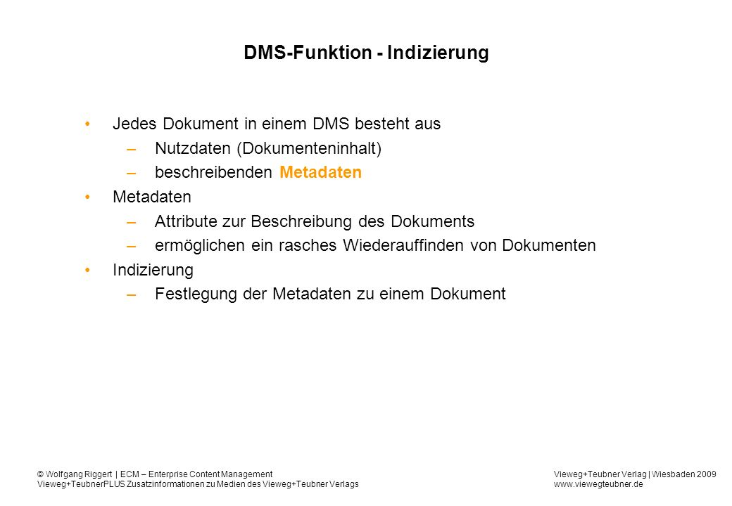 DMS-Funktion - Indizierung