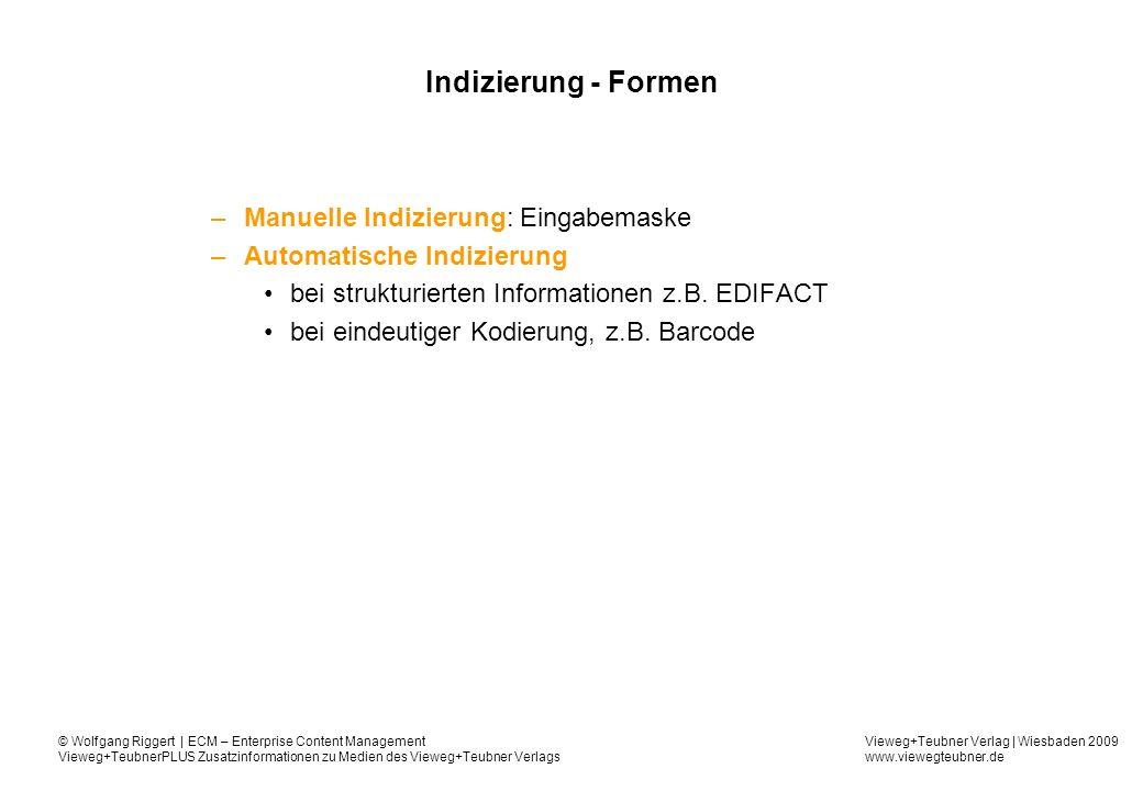 Indizierung - Formen Manuelle Indizierung: Eingabemaske