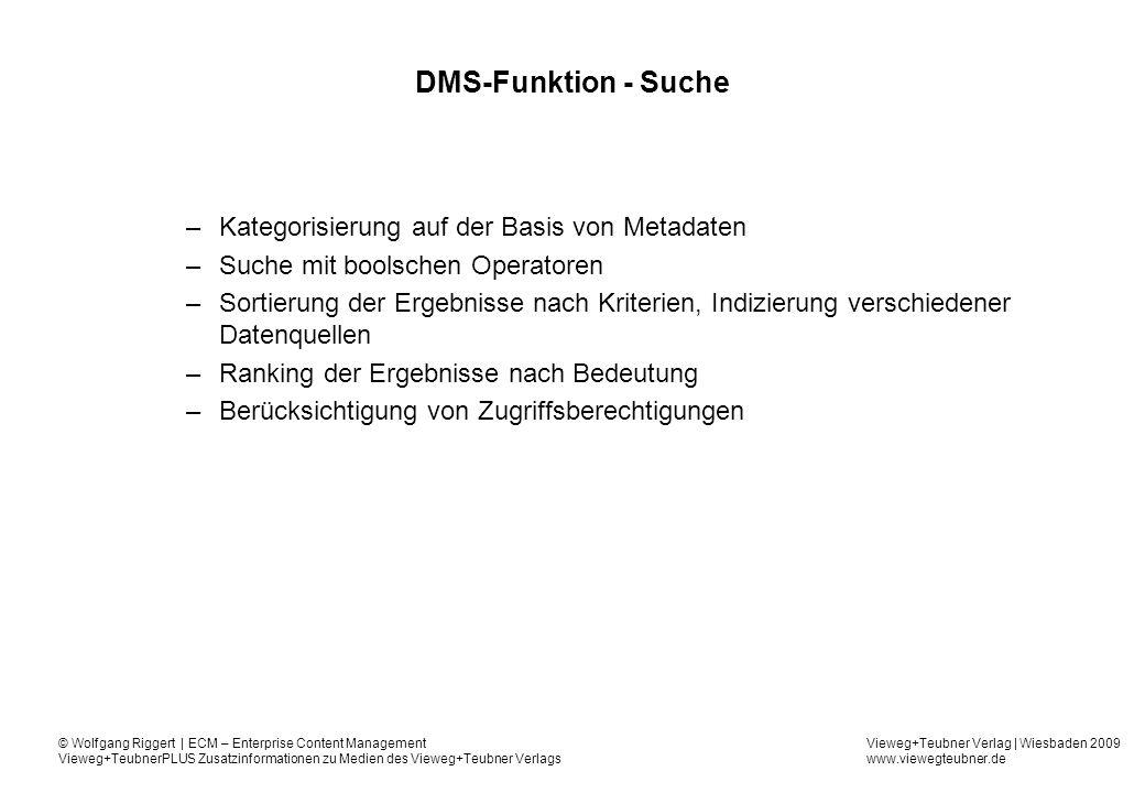 DMS-Funktion - Suche Kategorisierung auf der Basis von Metadaten