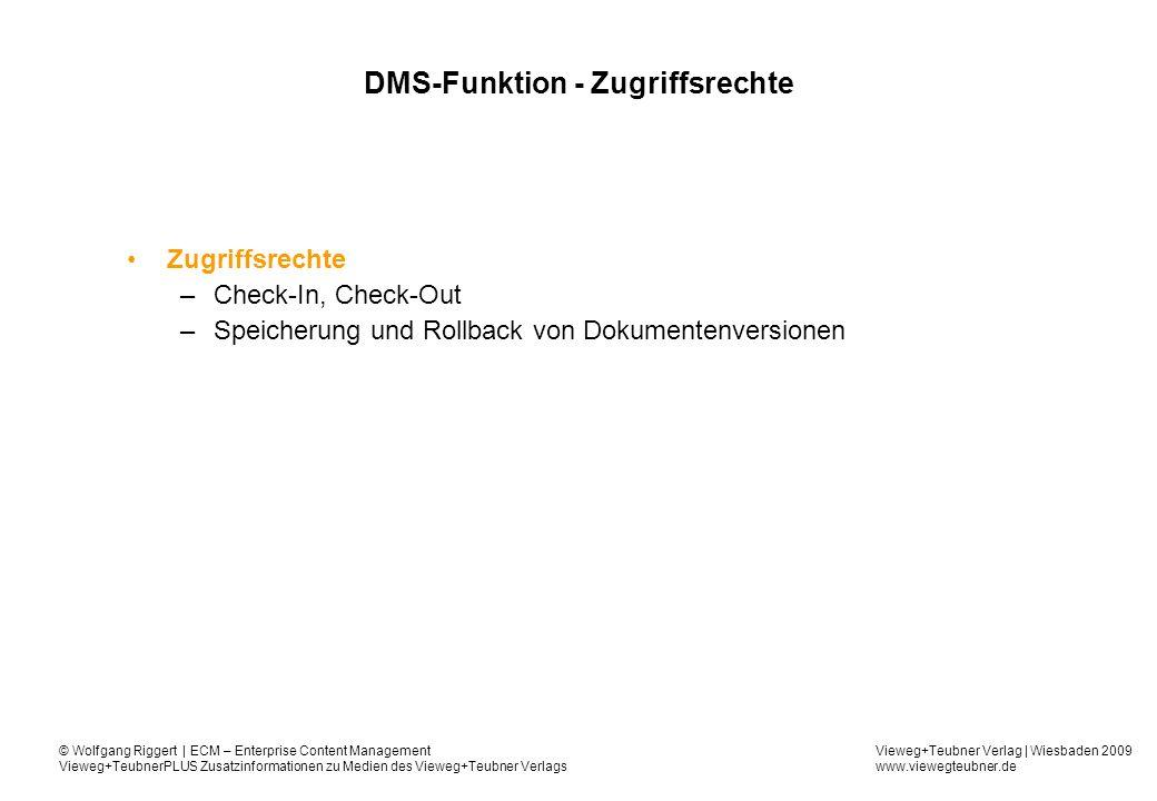 DMS-Funktion - Zugriffsrechte