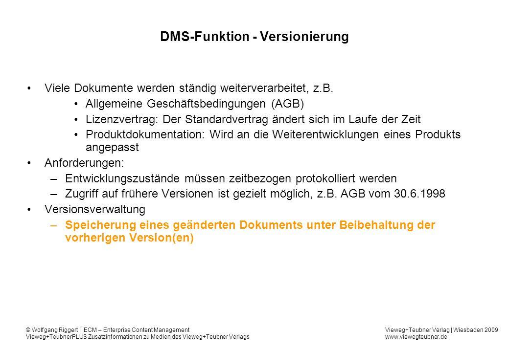 DMS-Funktion - Versionierung