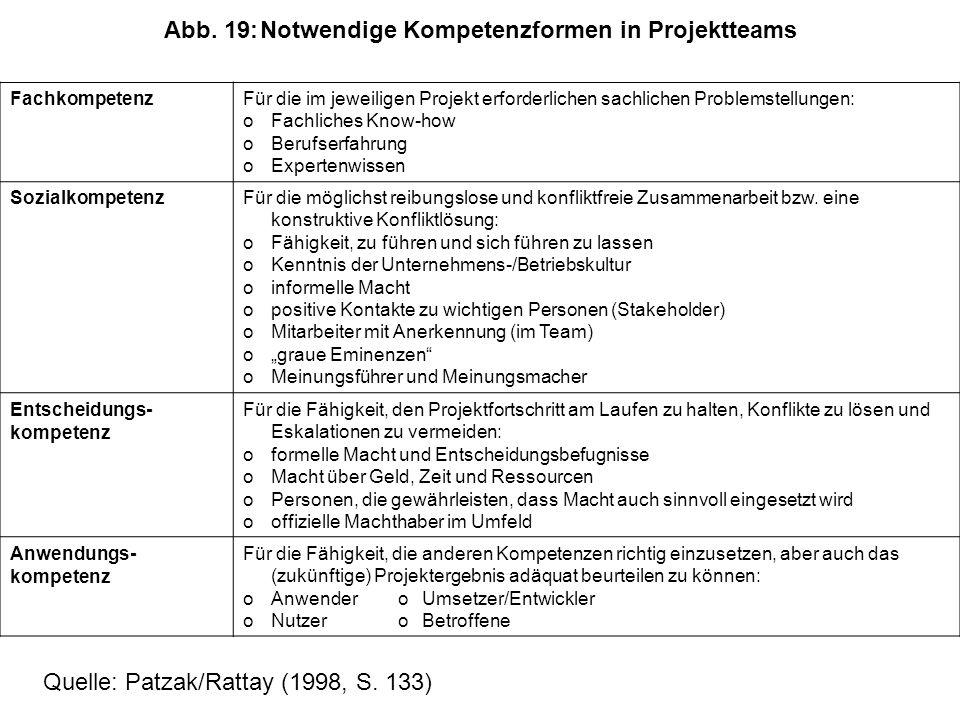 Abb. 19: Notwendige Kompetenzformen in Projektteams