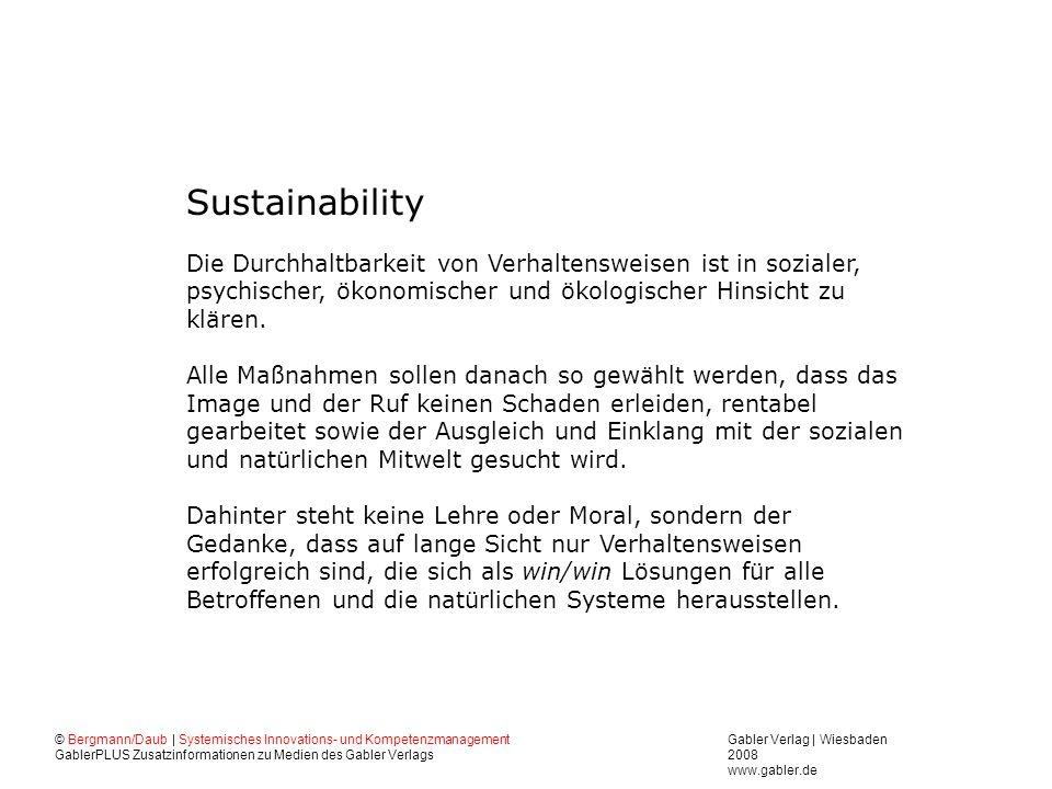 Sustainability Die Durchhaltbarkeit von Verhaltensweisen ist in sozialer, psychischer, ökonomischer und ökologischer Hinsicht zu klären.