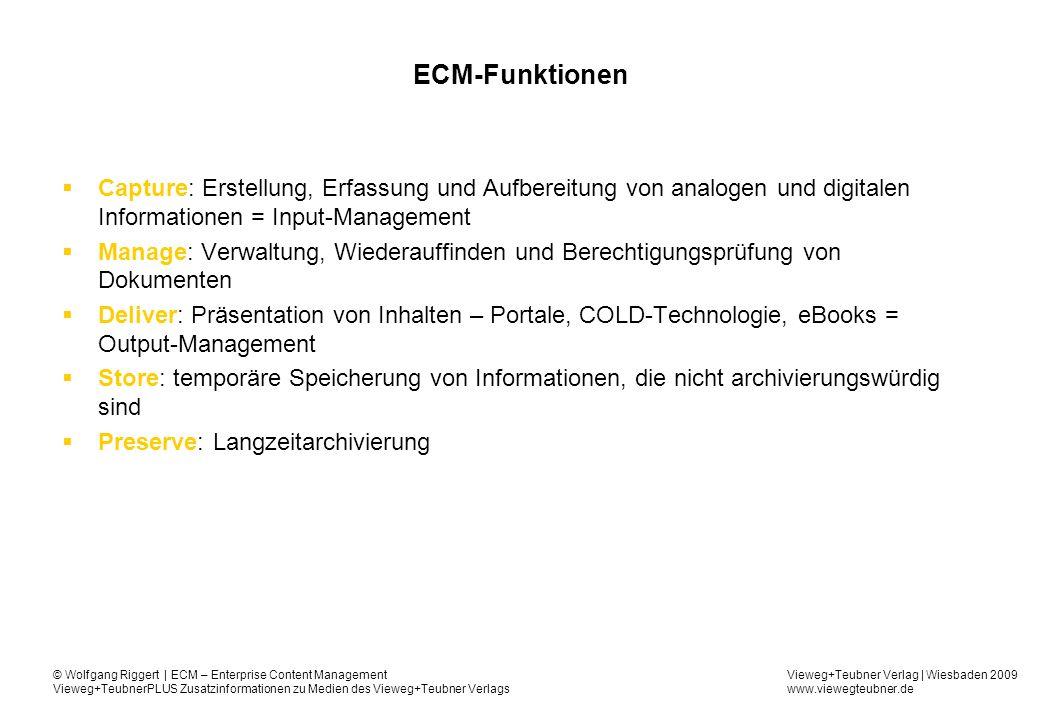 ECM-Funktionen Capture: Erstellung, Erfassung und Aufbereitung von analogen und digitalen Informationen = Input-Management.
