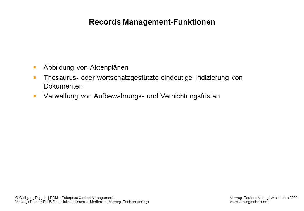 Records Management-Funktionen