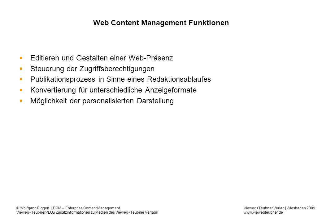 Web Content Management Funktionen