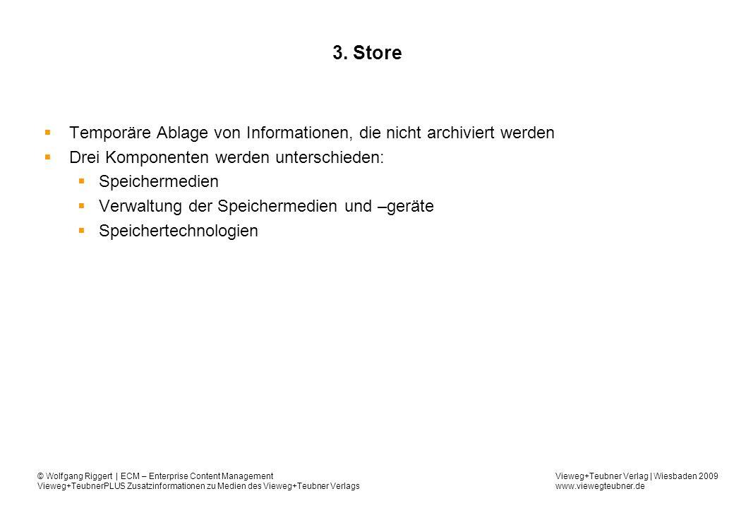 3. Store Temporäre Ablage von Informationen, die nicht archiviert werden. Drei Komponenten werden unterschieden: