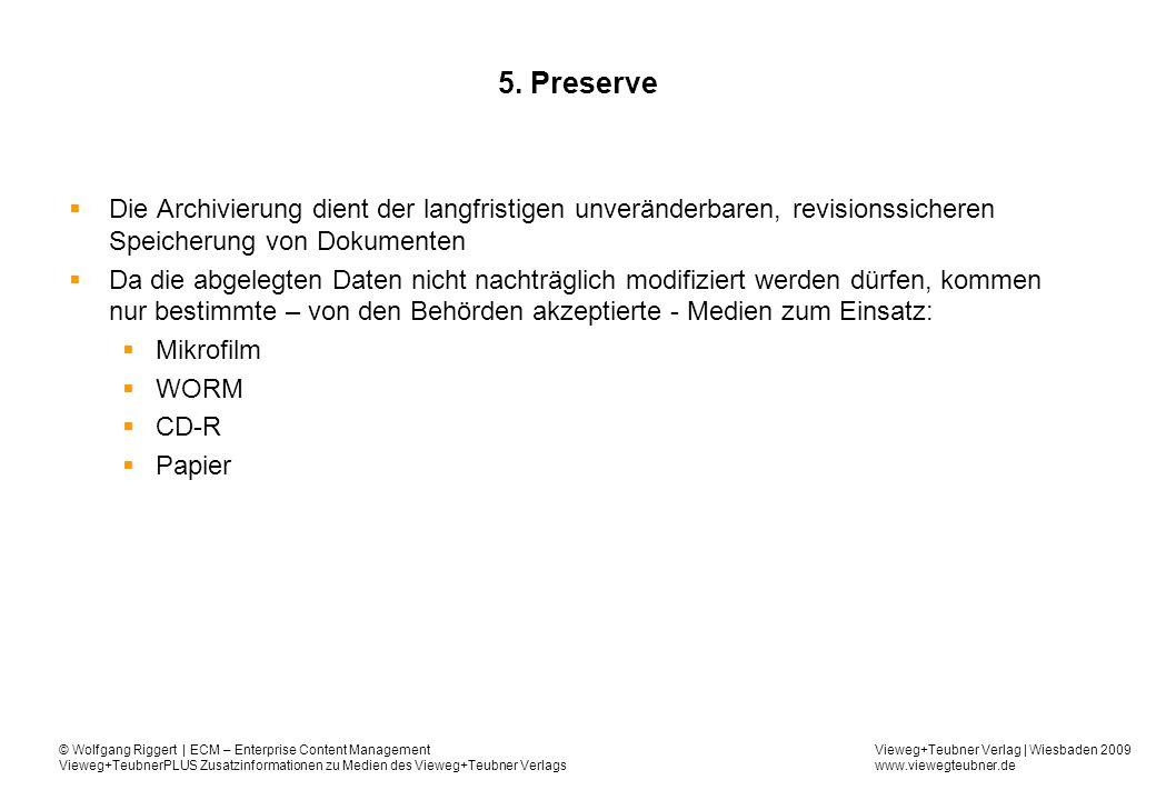 5. Preserve Die Archivierung dient der langfristigen unveränderbaren, revisionssicheren Speicherung von Dokumenten.