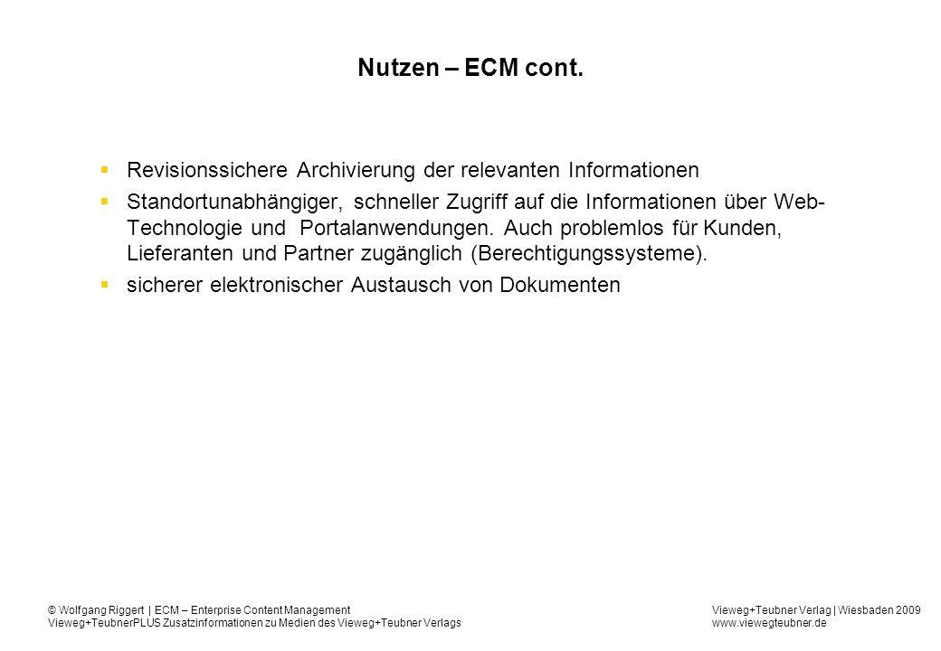 Nutzen – ECM cont. Revisionssichere Archivierung der relevanten Informationen.