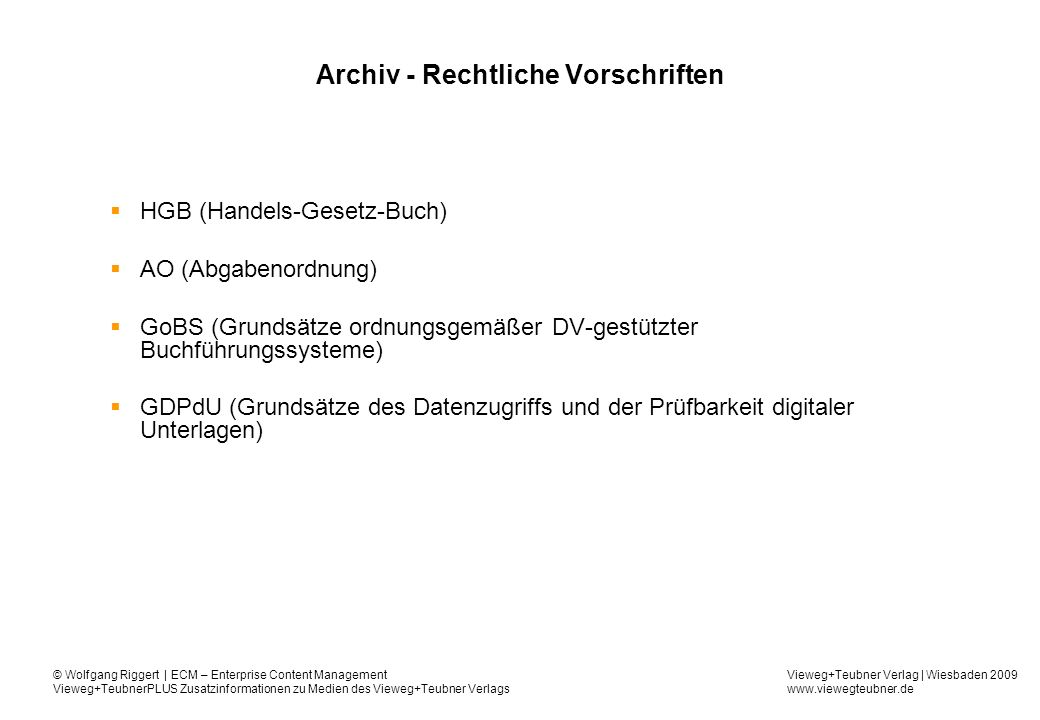 Archiv - Rechtliche Vorschriften