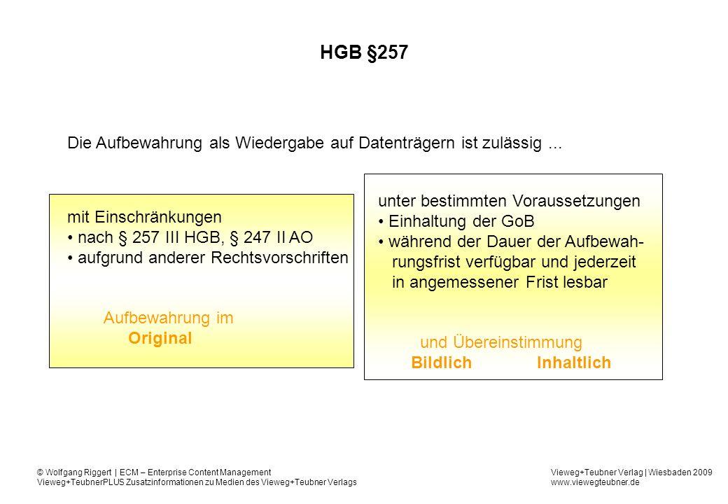 HGB §257 Die Aufbewahrung als Wiedergabe auf Datenträgern ist zulässig ... unter bestimmten Voraussetzungen.