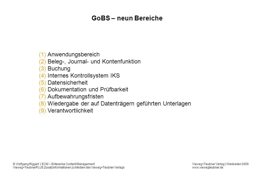 GoBS – neun Bereiche Anwendungsbereich